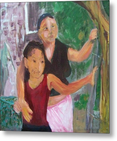 Grandmother And Grand-daughter In  Honduras Metal Print by Ellen Seymour