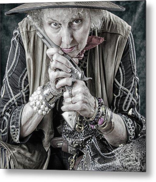 Granny With Her Gun  Metal Print by Steven Digman