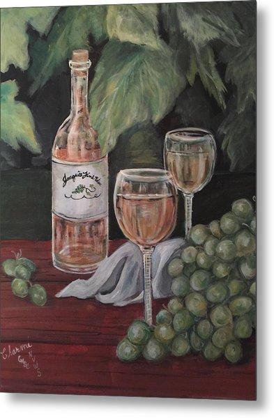 Grape Leaves And Wine Metal Print