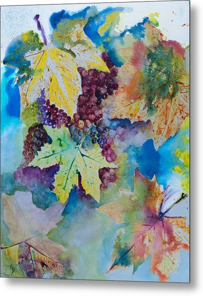 Grapes And Leaves Metal Print