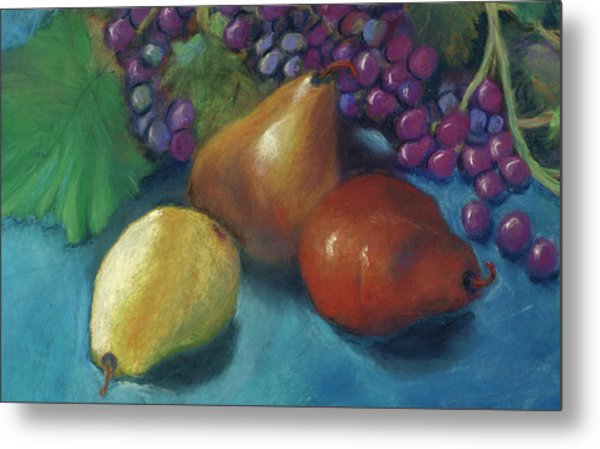 Grapes And Pears 2 Pastel Metal Print by Antonia Citrino
