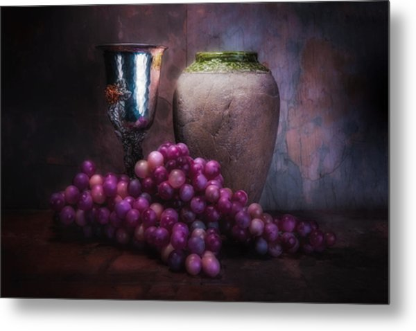 Grapes And Silver Goblet Metal Print