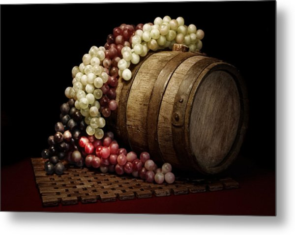 Grapes And Wine Barrel Metal Print