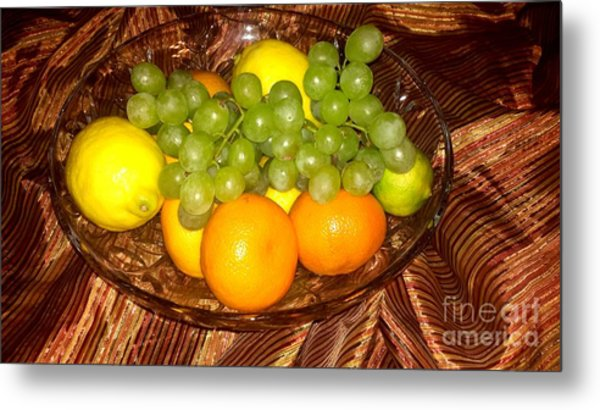 Grapes, Lemons, Mandarins And Lime  Metal Print