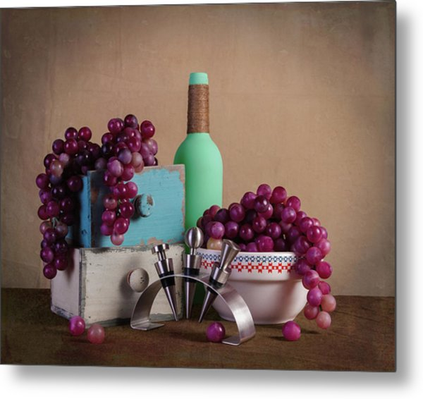 Grapes With Wine Stoppers Metal Print