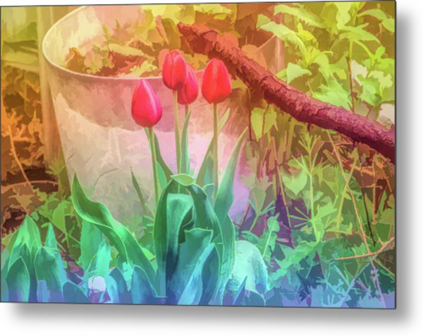 Graphic Rainbow Red Tulips Metal Print