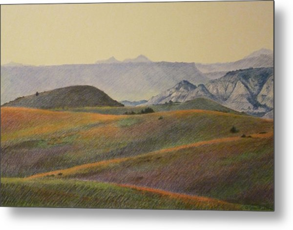Grasslands Badlands Panel 2 Metal Print