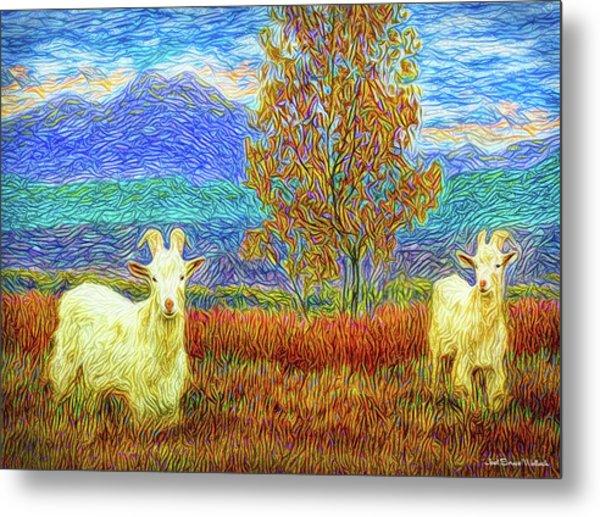 Grassy Meadow Goats Metal Print