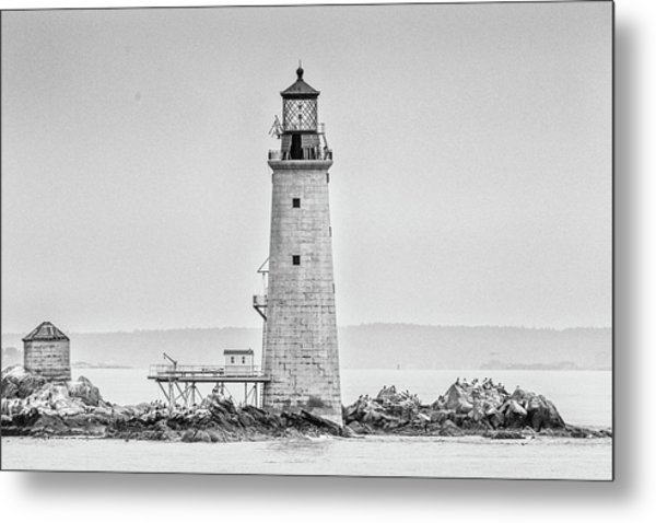 Graves Lighthouse- Boston, Ma - Black And White Metal Print