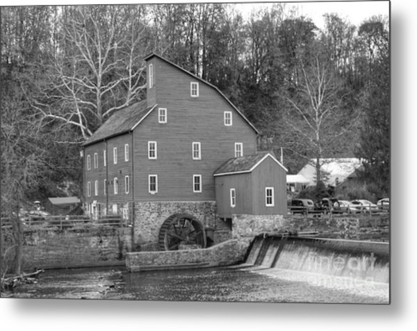 Gray Autumn At The Old Mill In Clinton Metal Print