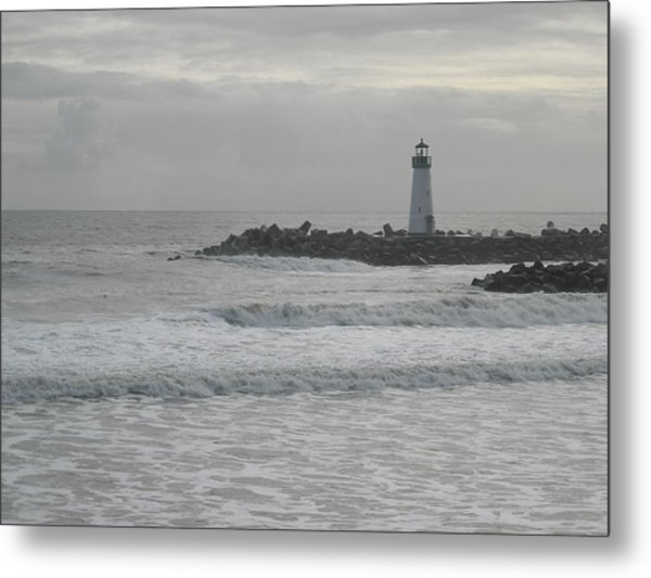 Gray Day Lighthouse Metal Print by Sharon McKeegan