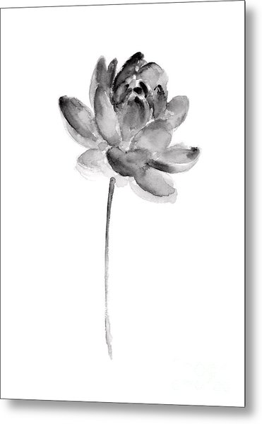 Gray Lotos Drawing Metal Print