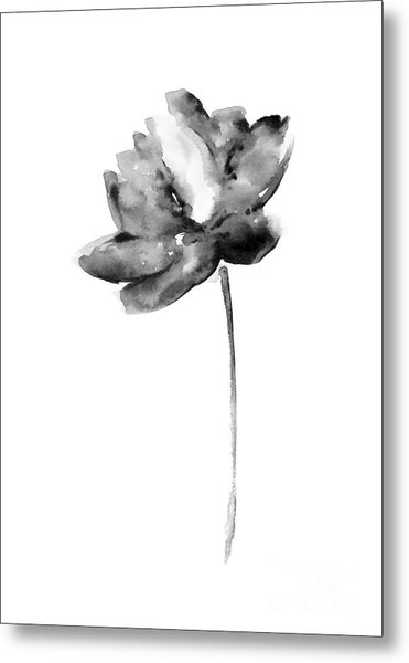 Gray Lotos Flower Watercolor Art Print Metal Print