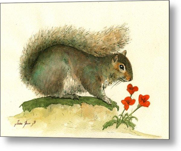 Gray Squirrel Flowers Metal Print
