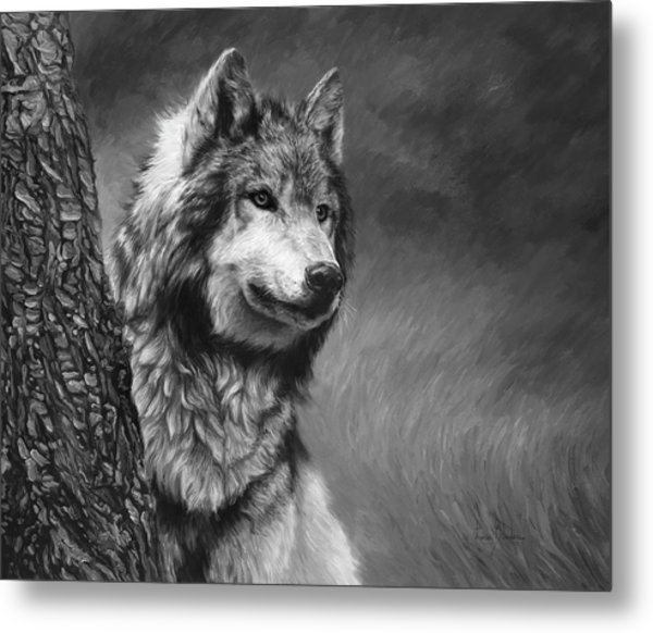 Gray Wolf - Black And White Metal Print