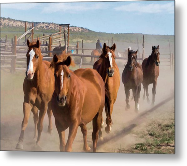 Metal Print featuring the digital art Great American Horse Drive - Coming Into The Corrals by Nadja Rider