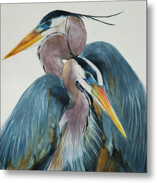Metal Print featuring the mixed media Great Blue Heron Couple by Jani Freimann