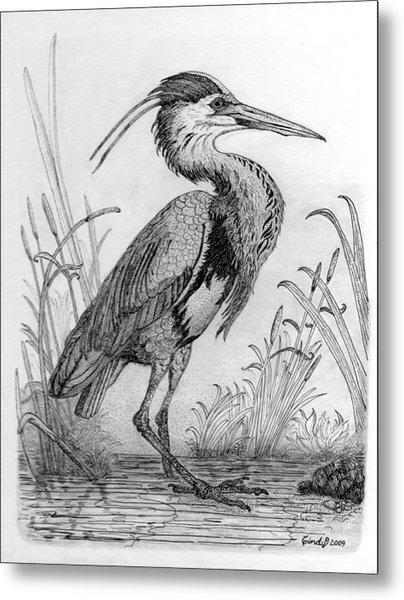 Great Blue Heron Metal Print by Cynthia  Lanka