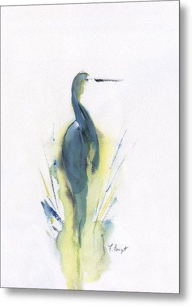 Blue Heron Turning Metal Print