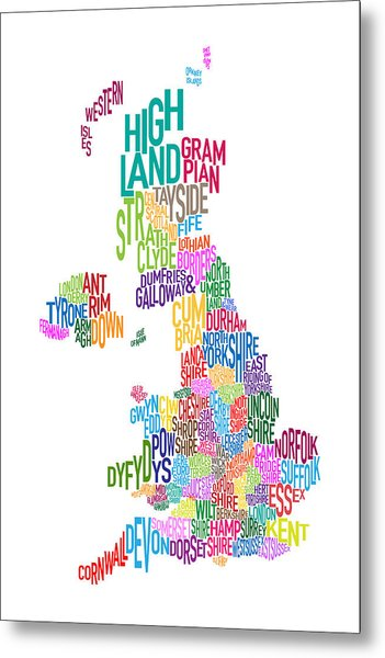 Great Britain County Text Map Metal Print