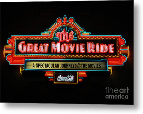 Great Movie Ride Neon Sign Hollywood Studios Walt Disney World Prints Metal Print