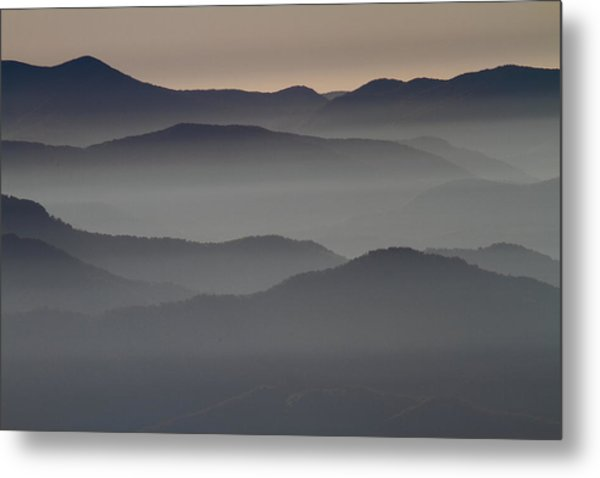 Great Smokey Mountains Shrouded In Fog Metal Print
