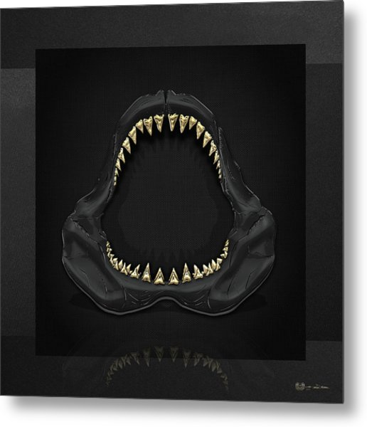 Great White Shark Jaws With Gold Teeth  Metal Print