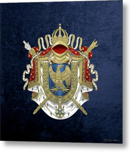 Greater Coat Of Arms Of The First French Empire Over Blue Velvet Metal Print