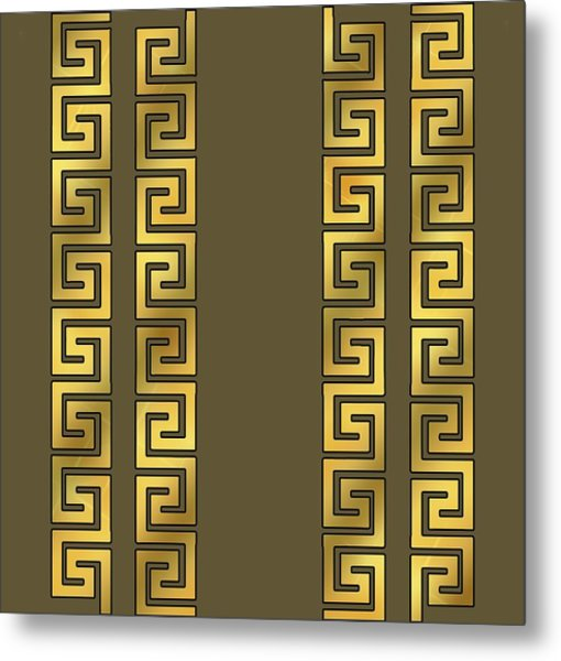 Greek Gold Pattern - Chuck Staley Metal Print