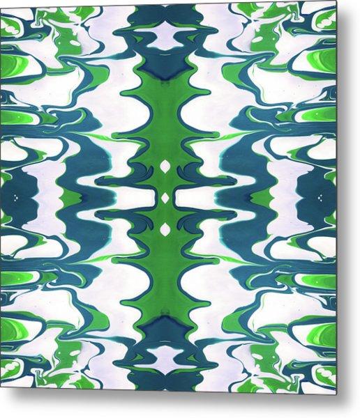 Green And Blue Swirl- Art By Linda Woods Metal Print