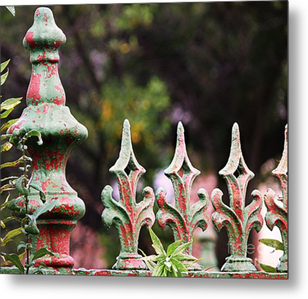 Green And Red Iron Fence Metal Print