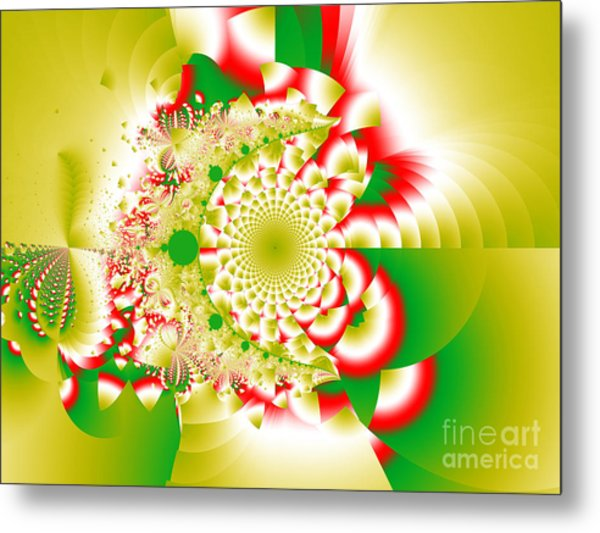 Green And Yellow Collide Metal Print