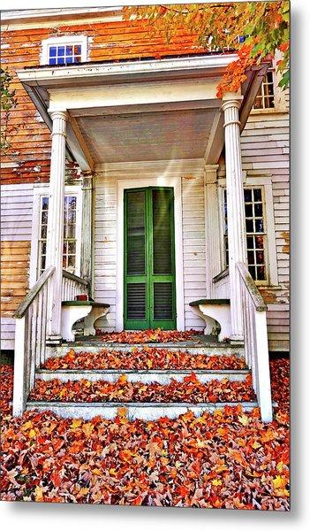 Green Autumn Door Metal Print