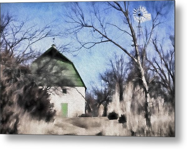Green Barn Metal Print
