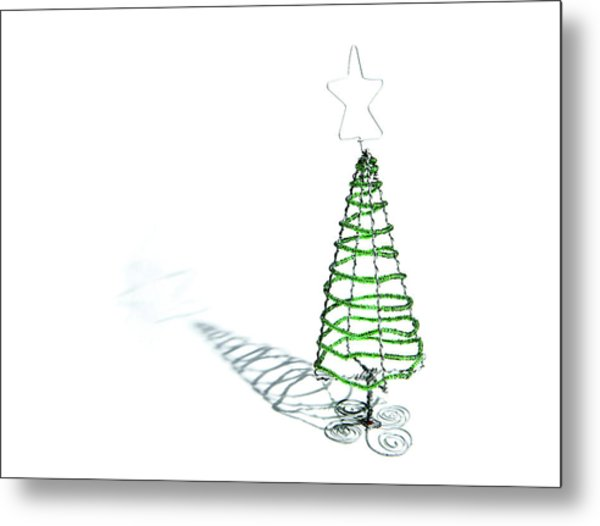 Green Bead Christmas Tree II Metal Print