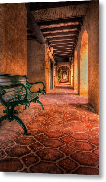 Green Bench And Arches Metal Print