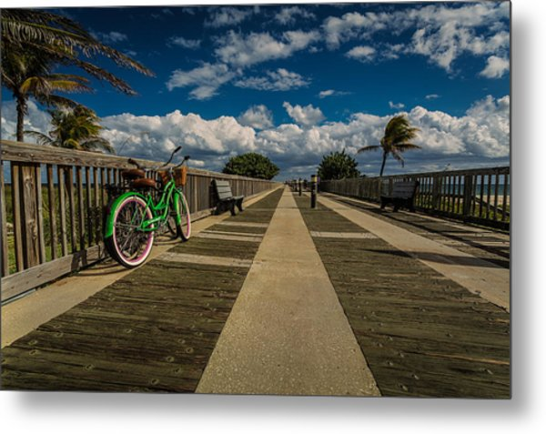 Green Bike At The Beach Metal Print