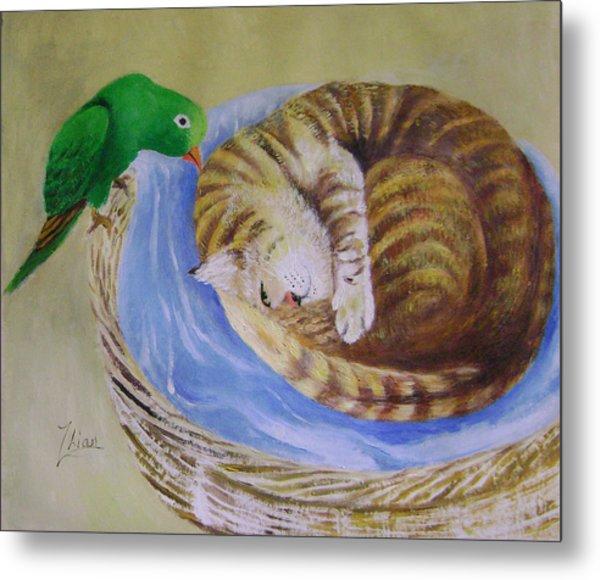 Green Bird Metal Print by Lian Zhen