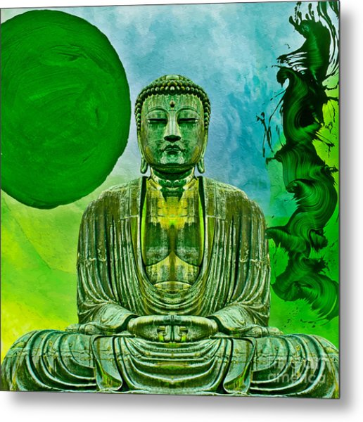 Metal Print featuring the mixed media Green Buddha by Lita Kelley