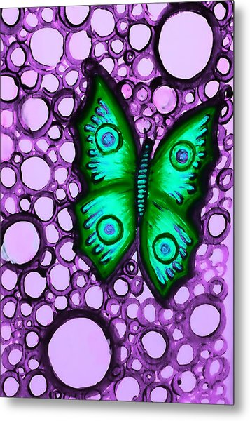 Green Butterfly II Metal Print by Brenda Higginson