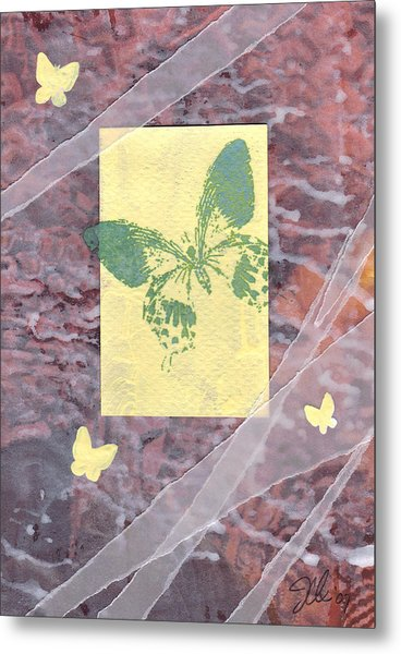 Green Butterfly Metal Print by Jennifer Bonset