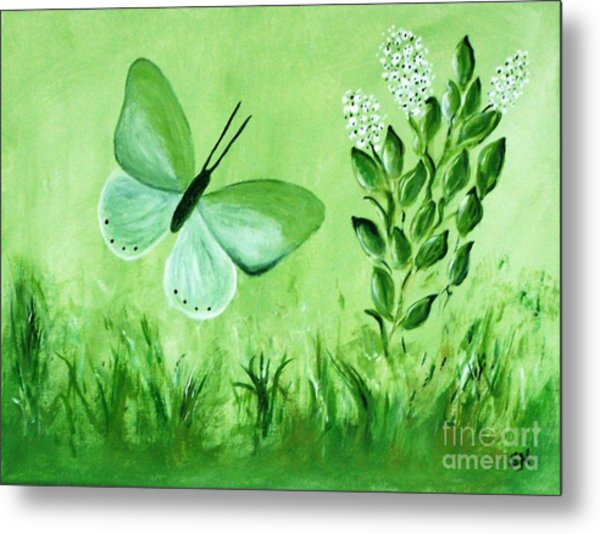 Metal Print featuring the painting Green Butterfly by Sonya Nancy Capling-Bacle
