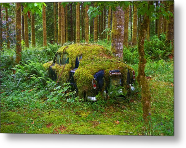 Green Car Metal Print by Ulrich Burkhalter