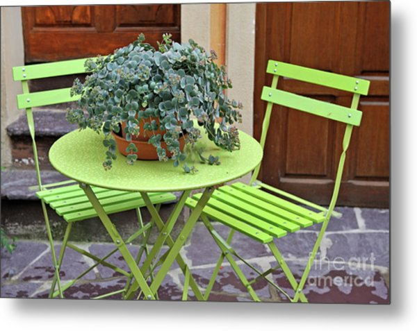 Green Chairs And Table With Plant In Pot Metal Print by Sami Sarkis