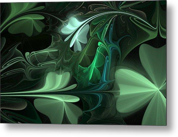Green Clover Field Metal Print