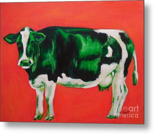 Green Cow Metal Print