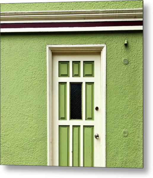 Green Door Detail Metal Print