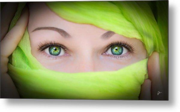Green-eyed Girl Metal Print