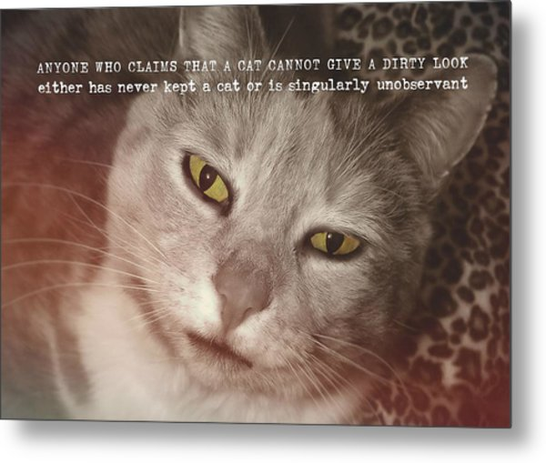 Green Eyed Glare Quote Metal Print by JAMART Photography
