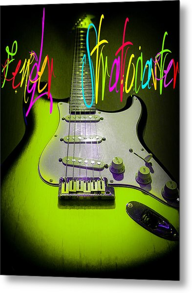 Metal Print featuring the photograph Green Fender Stratocaster  by Guitar Wacky